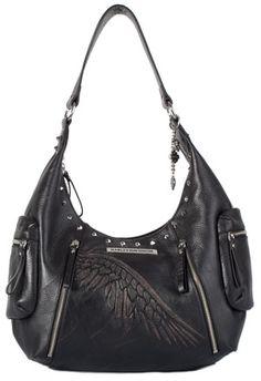 Harley-Davidson® Womens Hobo Punk Black Leather Purse
