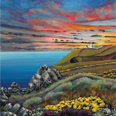 Landsend sunset by Gilly Johns Contemporary Art Daily, Contemporary Artists, West Cornwall, Cornwall England, Seaside Art, Beautiful Sunrise, Naive Art, Painting Inspiration, Art Images