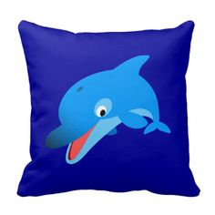 Cute Jumping Cartoon Dolphin Pillow Jumping dolphin by Cheerful Madness!! Fully customizable and available on variou...more