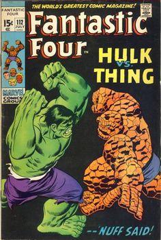 Fantastic Four 112 - Hulk Vs Thing - Marvel Comics Group - Nuff Said - Approved Comics Code Authority - Fight - John Buscema Marvel Comic Books, Comic Book Characters, Comic Book Heroes, Comic Character, Comic Books Art, Hulk Comic, Book Art, Hq Marvel, Marvel Dc Comics
