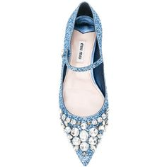 Miu Miu glittered ballerina shoes (1 655 BGN) ❤ liked on Polyvore featuring shoes, flats, pointy-toe flats, ballet pumps, ballet shoes, ballerina pumps and ballerina flats