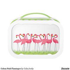 Cuban Pink Flamingos Lunch Box @zazzle #junkydotcom Aug 13 2016
