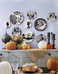 How to arrange a plate collection on your wall. Love the black and white!