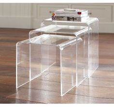 lucite nesting side tables
