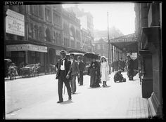 Sydney street scenes including pedestrians on King Street, George Street, Pitt Street, plus horse drawn vehicles and activities on York and Castlereagh Streets, including the delivery of ice, bottle and gas cylinders.