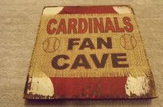 St. Louis Cardinals Fan Cave baseball burlap and rustic distressed wood plaque sign man cave home decor houseware by CharmingIntros on Etsy https://www.etsy.com/listing/221358325/st-louis-cardinals-fan-cave-baseball