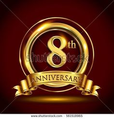 8th golden anniversary logo, eight years birthday celebration with gold ring and golden ribbon.