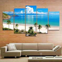 Cool Tees and Things 5 Piece Canvas Art, Canvas Frame, Canvas Wall Art, Wall Art Prints, House Painting, Diy Painting, Beach Apartment Decor, Beach Mural, Dining Room Wall Art