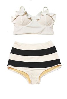 ruffled bikini top and striped high-waisted bottoms