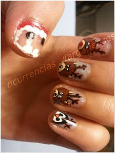 a new reinder - Chritsmas nail art, fun, cute