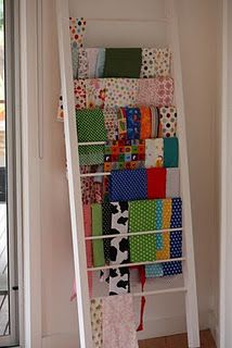 fabric ladder... Idea for the craft room!