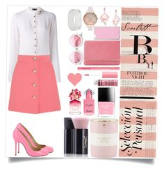 """Pinky peach formal"" by shreya-map on Polyvore featuring Kate Spade, Yves Saint Laurent, Oscar de la Renta Pink Label, Salvatore Ferragamo, Dash & Albert, Miu Miu, Butter London, Guerlain, Marc Jacobs and Charlotte Russe"