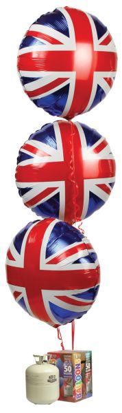 Union Jack Foil Balloons & Gas Cylinder Pack | Peeks