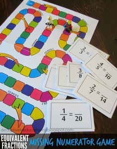 FREE Equivalent Fractions Missing Numerator Math Game for 4th grade and 5th grade