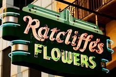 fabulous vintage neon flower shop sign