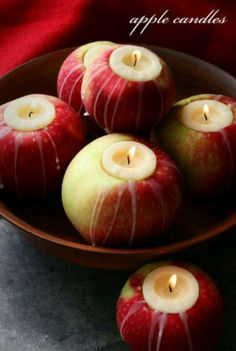 Apple candles - this is so cool, i bet they smell amazing. sprinkle a little cinnamon underneath the candle..