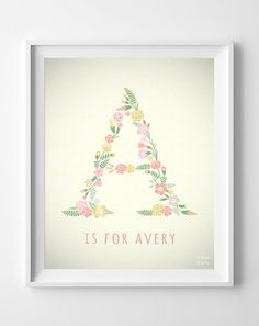 Custom Baby Name Avery Art Letter A Monogram by InkistPrints, $11.95