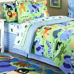 Jungle Safari Kids Bedding Twin Full/Queen Comforters -Jungle Theme Blue Green Bedding by Olive Kids