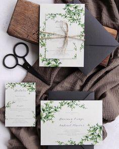 Greenery wedding invitation with watercolor branches, twine and handmade envelope / © PAPIRA invitatii de nunta personalizate
