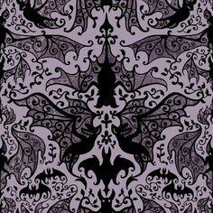 Elysian fields wallpaper designed by dan funderburgh - Bat and poppy wallpaper ...