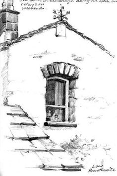 Pencil sketchbook drawing of home at Low Branthwaite