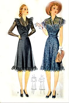 1940s Simplicity Sewing Pattern  Ruffle Shawl Collar by HeritageFabrics