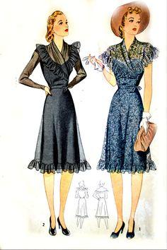 1940s Simplicity Sewing Pattern  RUFFLE SHAWL by HeritageFabrics, $19.00