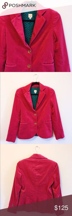 Anthropologie Fuchsia Velvet Blazer 💋 Gorgeous and SUPER flattering blazer from Lauren Moffatt. The buttons are SO cool and the fabric is structured but comfortable. Lightly worn a few times but excellent condition! Make me an offer 💋 Anthropologie Jackets & Coats Blazers