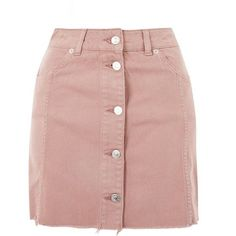 Topshop Moto Button Up Denim Mini Skirt ($39) ❤ liked on Polyvore featuring skirts, mini skirts, topshop, dusty pink, pink skirt, pink mini skirt, denim miniskirt, short mini skirts and button-front denim skirts
