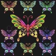 3697033-vector-set-colorful-butterflies.jpg (800×800)