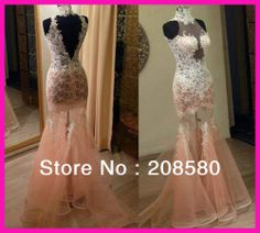 Real Sample Pink High Neck Lace See Through V Back Mermiad Prom Evening Dress Women E5253-in Prom Dresses from Apparel & Accessories on Alie...
