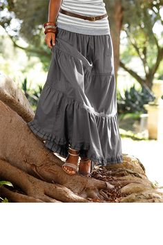 Skirts - Urban Tiered Maxi Skirt with Ruffle - EziBuy New Zealand Mom Outfits, Modest Outfits, Skirt Outfits, Cheap Maxi Dresses, Skirts For Sale, Elegant Outfit, Comfortable Outfits, Denim Fashion, Clothing Patterns