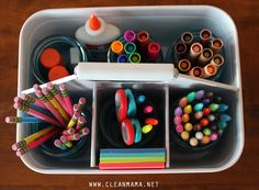 Homework Caddy - Could be fashioned into a caddy for smaller kids. Load the Caddy Up with Supplies via Clean Mama