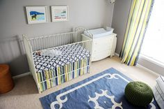Clean, Modern Navy and Gray #Nursery - love the fab navy rug!