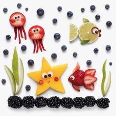 Sea Animals Party with fruits Comida divertida para niños Fruit Decoration For Party, Food Decoration, Fruit Recipes For Kids, Baby Food Recipes, Fruit Ideas, Fun Recipes, Kreative Snacks, Food Art For Kids, Fruit Art Kids