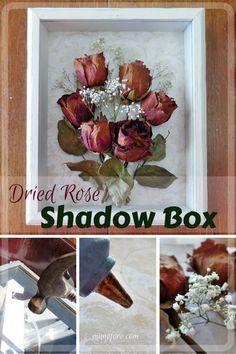 Dried Rose Shadow Box   Simple But Beautiful Way To Display Dried Flowers. Nice Look