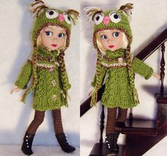 Hand-Knit owl hat set made for Tonner/Wilde Patience Doll