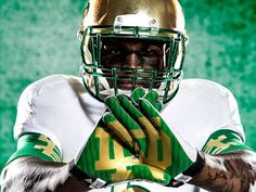 The Notre Dame Fighting Irish unveiled their new Adidas uniforms on Monday for the Shamrock Series game against the Arizona State Sun Devils on October Irish posted the description of the new… Notre Dame Football, Nd Football, Football Season, Football Helmets, Collage Football, Football Parties, Football Quotes, Adidas Football, College Football Uniforms