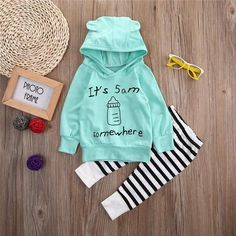 Cute Baby Clothes Newborn Baby Kids Boy Girl Long Sleeve Letter Hooded Tops Light Green T-shirt Striped Pants Outfit Set Baby Outfits Newborn, Toddler Outfits, Baby Boy Outfits, Kids Outfits, Pants Outfit, Outfit Sets, Cute Baby Clothes, Sweater Hoodie, Sweatshirt Outfit