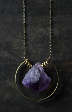 Large quartz necklace gold brass Amethyst Necklace,raw amethyst pendant necklace,long statement necklace modern minimalist bohemian jewelry