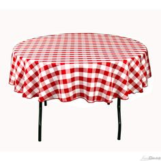 Buy 90 inch round, red & white checkered tablecloth for weddings! Seamless and machine washable table linens, these wedding tablecloths are perfect for other special events too.