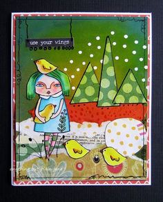 Birdy Whimsical gal with birdhouse and birds 5 by VeraLaneStudio