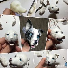 Polymer Clay Figures, Polymer Clay Animals, Cute Polymer Clay, Polymer Clay Charms, Polymer Clay Creations, Diy Clay, Clay Crafts, Dog Sculpture, Animal Sculptures