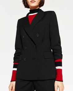 Black Double-Breasted Pinstripe Blazer   Zara