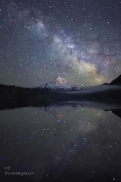 Another pinner said: This is my favourite shot of 2010 and my most emotionally moving night under the stars this year.  This is a single exposure, real photo. No photoshop composite going on.    Lost Lake, Oregon, USA    Category Landscapes  Uploaded Over 1 year ago  Copyright Ben Canales