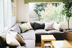 floral window valances above a blue sectional couch and a pair of yellow tables // living room Living Room Green, My Living Room, Home And Living, Living Room Decor, Living Spaces, Dark Sofa, Big Couch, Living Room Photos, Family Room Design