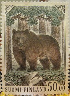 1989 Finland Brown Bear Postage Stamp by Retro Graphics Postage Stamp Design, Art Postal, Lappland, Bear Art, Vintage Stamps, Fauna, Mail Art, Stamp Collecting, Poster