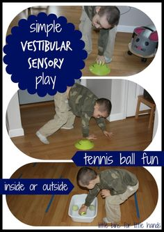 Tennis Ball Vestibular Sensory Play. Repinned by SOS Inc. Resources pinterest.com/sostherapy/.