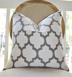 Decorative Moroccan Pillow Cover Ivory Grey Quatrefoil by MotifPillows, $38.00