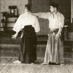 "Yoshinkan Aikido Founder Gozo Shioda taking ukemi for Aikido Founder Morihei Ueshiba in the 1938 technical manual ""Budo"" - from the blog post ""Aikido Shihan Kyoichi Inoue - Learning from the Kojiki"": http://www.aikidosangenkai.org/blog/aikido-shihan-kyoichi-inoue-kojiki/"